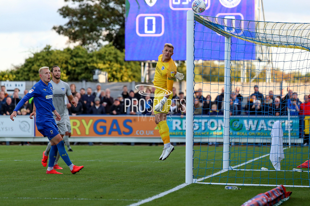 Ball hitting bar from AFC Wimbledon defender Paul Kalambayi (30) shot during the EFL Sky Bet League 1 match between AFC Wimbledon and Portsmouth at the Cherry Red Records Stadium, Kingston, England on 19 October 2019.