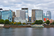 View of buildings in downtown Portland, Oregon from across the Willamette River