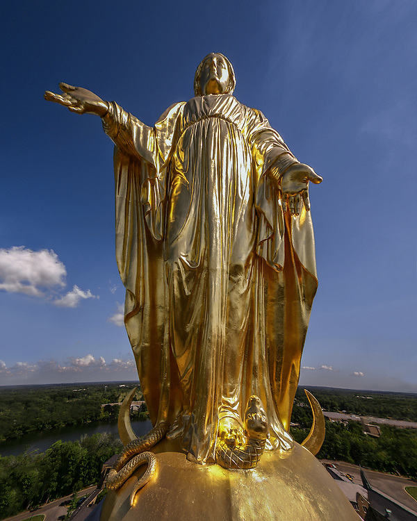 Mary statue atop the Golden Dome
