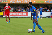 AFC Wimbledon defender Paul Osew (37) dribbling during the EFL Sky Bet League 1 match between AFC Wimbledon and Accrington Stanley at the Cherry Red Records Stadium, Kingston, England on 17 August 2019.