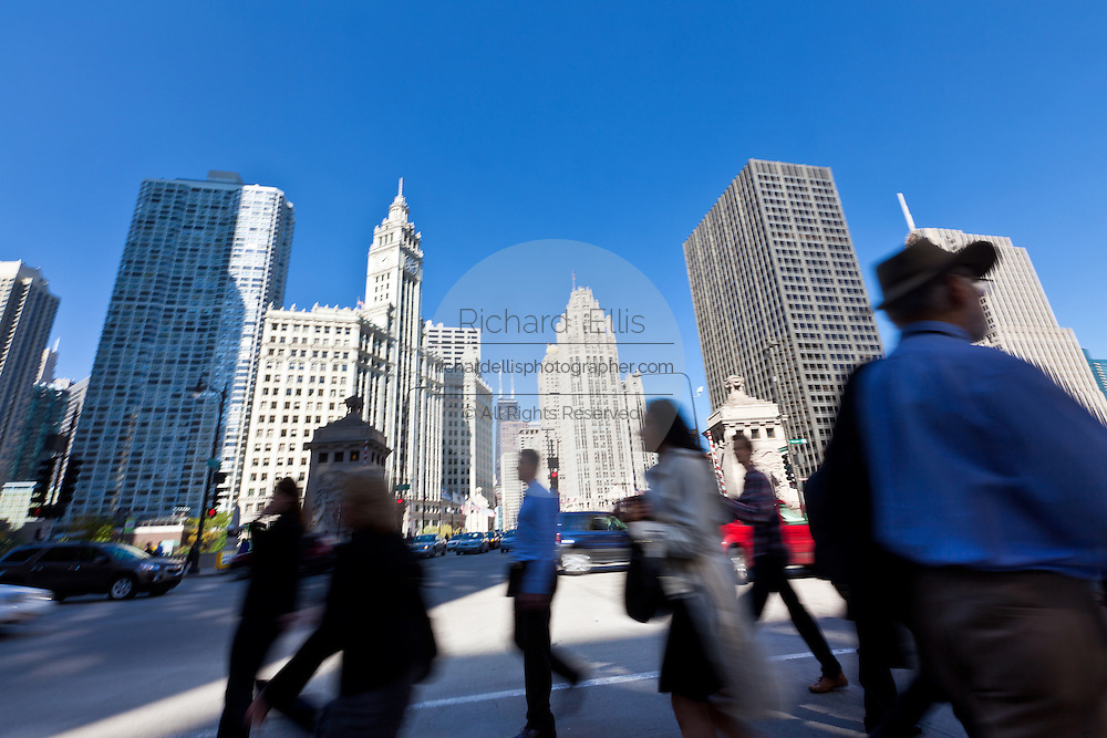 View along N Michigan Ave in Chicago, IL, USA.