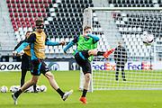 ALKMAAR - 19-10-2016, training persconferentie AZ, AFAS Stadion, AZ speler Wout Weghorst, AZ speler Mattias Johansson