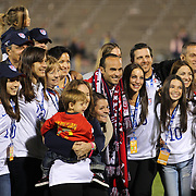 Landon Donovan, USA, with family after his farewell match during the USA Vs Ecuador International match at Rentschler Field, Hartford, Connecticut. USA. 10th October 2014. Photo Tim Clayton