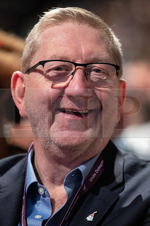 © Licensed to London News Pictures . 23/09/2018. Liverpool, UK. LEN MCCLUSKEY . The first day of the 2018 Labour Party Conference at the Arena and Convention Centre in Liverpool . Photo credit: Joel Goodman/LNP