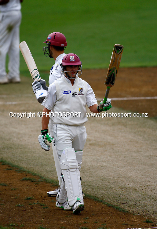 Northern's Kane Williamson celebrates 50 runs, State Champs cricket, Auckland Aces v Northern Knights, Day 1, Eden Park, Auckland. Friday 20 March 2009. Photo: William Booth/PHOTOSPORT