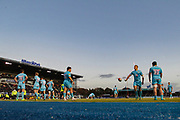 Worcester Warriors during a pause in the Premiership Rugby Cup match between Saracens and Worcester Warriors at Allianz Park, Hendon, United Kingdom on 11 November 2018.