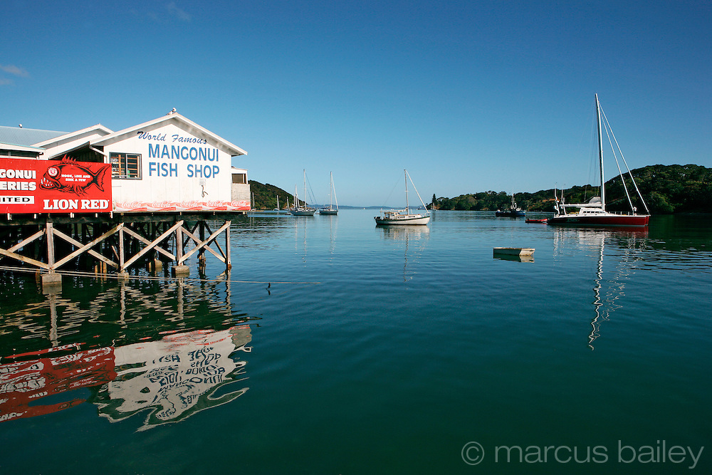 water ripples on mangonui harbour, with mangonui fish shop, fishing boats and pleasure craft at mangonui, doubtless bay, northland, new zealand