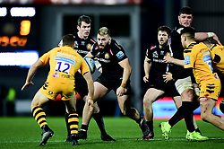Luke Cowan-Dickie of Exeter Chiefs is challenged by Jimmy Gopperth of Wasps - Mandatory by-line: Ryan Hiscott/JMP - 30/11/2019 - RUGBY - Sandy Park - Exeter, England - Exeter Chiefs v Wasps - Gallagher Premiership Rugby