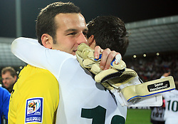 Goalkeeper of Slovenia Samir Handanovic (1) and Branko Ilic (18) after the fourth round qualification game of 2010 FIFA WORLD CUP SOUTH AFRICA in Group 3 between Slovenia and Northern Ireland at Stadion Ljudski vrt, on October 11, 2008, in Maribor, Slovenia.  (Photo by Vid Ponikvar / Sportal Images)