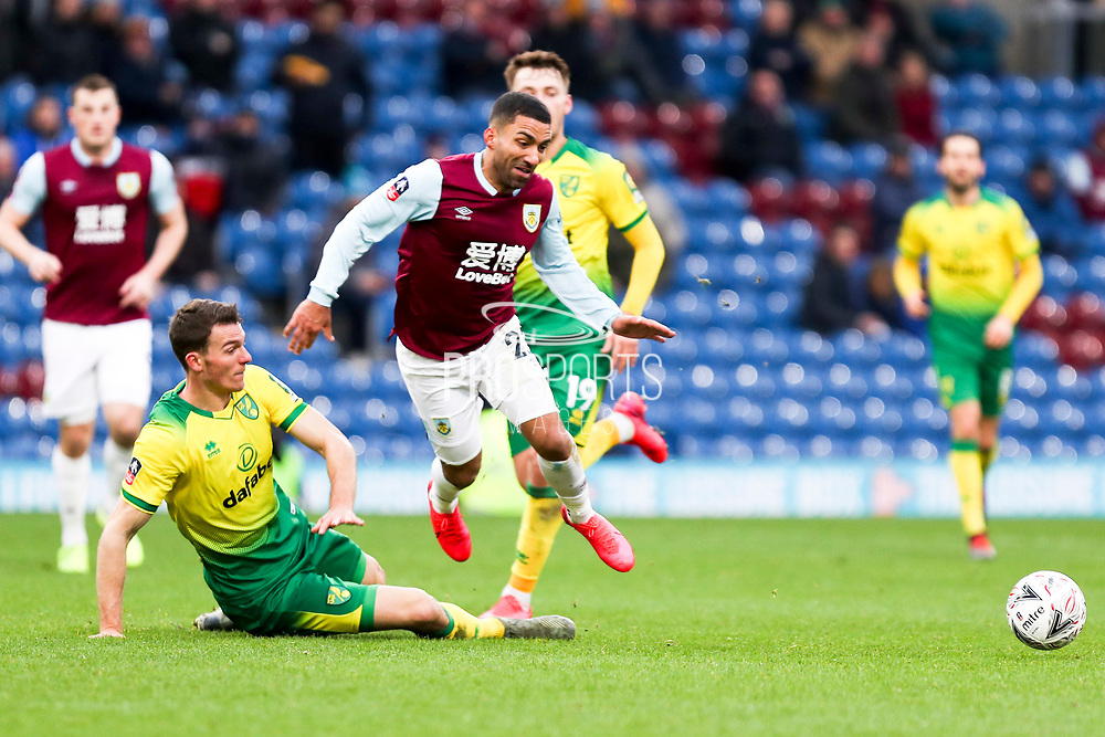 Burnley midfielder Aaron Lennon (25) fouled by the opponent during the The FA Cup match between Burnley and Norwich City at Turf Moor, Burnley, England on 25 January 2020.