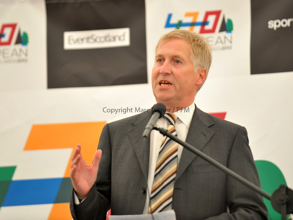 sportscotland national centre Inverclyde and Cumbrae Principal John Kent opens 470 European Championships, Largs 2012