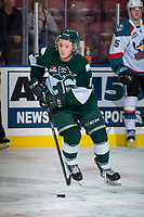 KELOWNA, CANADA - SEPTEMBER 29: Orrin Centazzo #11 of the Everett Silvertips warms up with the puck against the Kelowna Rockets on September 29, 2017 at Prospera Place in Kelowna, British Columbia, Canada.  (Photo by Marissa Baecker/Shoot the Breeze)  *** Local Caption ***