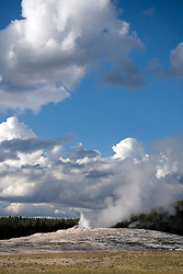 Old Faithful Geyser minutes before an eruption - Yellowstone National Park, Wyoming.