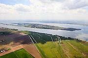 Nederland, Zuid-Holland, Hoeksche Waard, 09-05-2013; Harinvliet met eiland Tiengemeten, Korendijkse Slikken in de voorgrond.<br /> Isalnd in river mouth, between South Holland and Zealand.<br /> luchtfoto (toeslag op standard tarieven)<br /> aerial photo (additional fee required)<br /> copyright foto/photo Siebe Swart