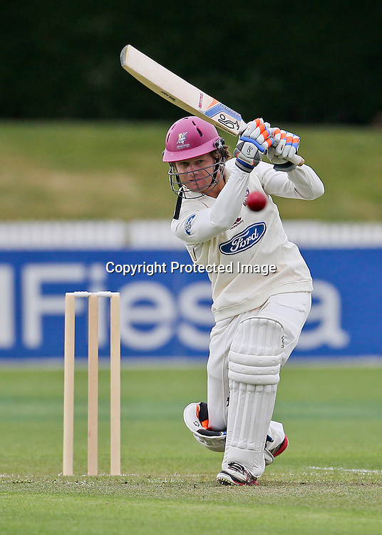 Northern Knight's James Marshall drives down the ground for a boundary during Day 1 of the Plunket Shield Cricket match, Northern Knights v Canterbury Wizards at Seddon Park, Hamilton on Sunday 2 December 2012.  Photo: Bruce Lim / Photosport.co.nz
