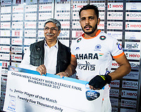 BHUBANESWAR -  Hockey World League finals , Semi Final . Argentina v India.  Harmanpreet Singh (Ind) , junior player of the match.  COPYRIGHT KOEN SUYK