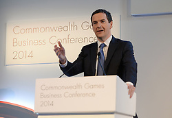 Image ©Licensed to i-Images Picture Agency. 22/07/2014. Glasgow, Scotland. Chancellor of the Exchequer, George Osborne speaking during the Commonwealth Games Business Conference 2014 at Glasgow University. Picture by Andrew Parsons / i-Images