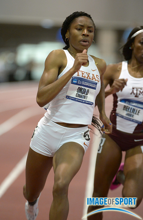 Mar 14, 2014; Albuquerque, NM, USA; Courtney Okolo of Texas runs 52.04 in a womens 400m heat in the 2014 NCAA Indoor Championships at Albuquerque Convention Center.
