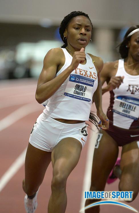 Mar 14, 2014; Albuquerque, NM, USA; Courtney Okolo of Texas runs 52.04 in a womens 400m heat in the 2014 NCAA Indoor Championships at Albuquerque Convention Center.