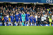 Players enter the pitch ahead the Barclays Premier League match between Chelsea and Everton at Stamford Bridge, London, England on 16 January 2016. Photo by Salvio Calabrese.