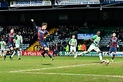 Shay McCartan (14) of Bradford City shoots at goal and has his shot saved by Artur Krysiak (1) of Yeovil Town during the The FA Cup 3rd round match between Yeovil Town and Bradford City at Huish Park, Yeovil, England on 6 January 2018. Photo by Graham Hunt.
