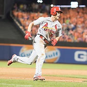 NEW YORK, NEW YORK - July 27: Jeremy Hazelbaker #41 of the St. Louis Cardinals scores the winning run on a Kolten Wong #16 of the St. Louis Cardinals double in the ninth inning during the St. Louis Cardinals Vs New York Mets regular season MLB game at Citi Field on July 27, 2016 in New York City. (Photo by Tim Clayton/Corbis via Getty Images)