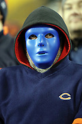 A Chicago Bears fan wears a blue face mask on Halloween night during the Chicago Bears 2016 NFL week 8 regular season football game against the Minnesota Vikings on Monday, Oct. 31, 2016 in Chicago. The Bears won the game 20-10. (©Paul Anthony Spinelli)