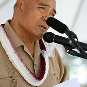American Samoa Governor, Lolo Moliga formally addresses attendees at the Samoa Tuna Processors/TriMarine Cannery Innauguration ceremonies and festivities, Satala, Tutuila, American Samoa. 1/24/15,  Photo by Barry Markowitz.