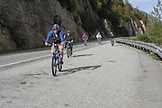 Whitepass, Yukon, Alaska, USA a group of cyclists