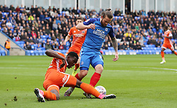 Jack Marriott of Peterborough United in action with Aristote Nsiala of Shrewsbury Town - Mandatory by-line: Joe Dent/JMP - 28/10/2017 - FOOTBALL - ABAX Stadium - Peterborough, England - Peterborough United v Shrewsbury Town - Sky Bet League One