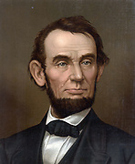 Abraham Lincoln (1809-1865), 16th President of the United States of America 1861-1865. Asassinated  at Ford's Theatre, Washington by actor and Confederate spy John Wilkes Booth, 15 April 1865. Half-length portrait. Chromolithograph c1877.