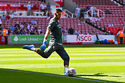 Leeds United goalkeeper Francisco Casilla (13) warming up during the EFL Sky Bet Championship match between Stoke City and Leeds United at the Bet365 Stadium, Stoke-on-Trent, England on 24 August 2019.
