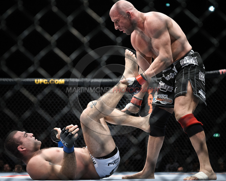 "DUBLIN, IRELAND, JANUARY 17, 2009: Mark Coleman (top) and Mauricio Rua during ""UFC 93: Franklin vs. Henderson"" inside the O2 Arena in Dublin, Ireland"