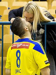 Blaz Janc of RK Celje PL with his girlfriend after the handball match between RK Celje Pivovarna Lasko and RK Gorenje Velenje in Eighth Final Round of Slovenian Cup 2015/16, on December 10, 2015 in Arena Zlatorog, Celje, Slovenia. Photo by Vid Ponikvar / Sportida