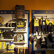 The mechandise on sale in the shop at Boca Juniors football stadium, La Bombonera, in La Boca region of Buenos Aires, Argentina, 25th June 2010. Photo Tim Clayton..