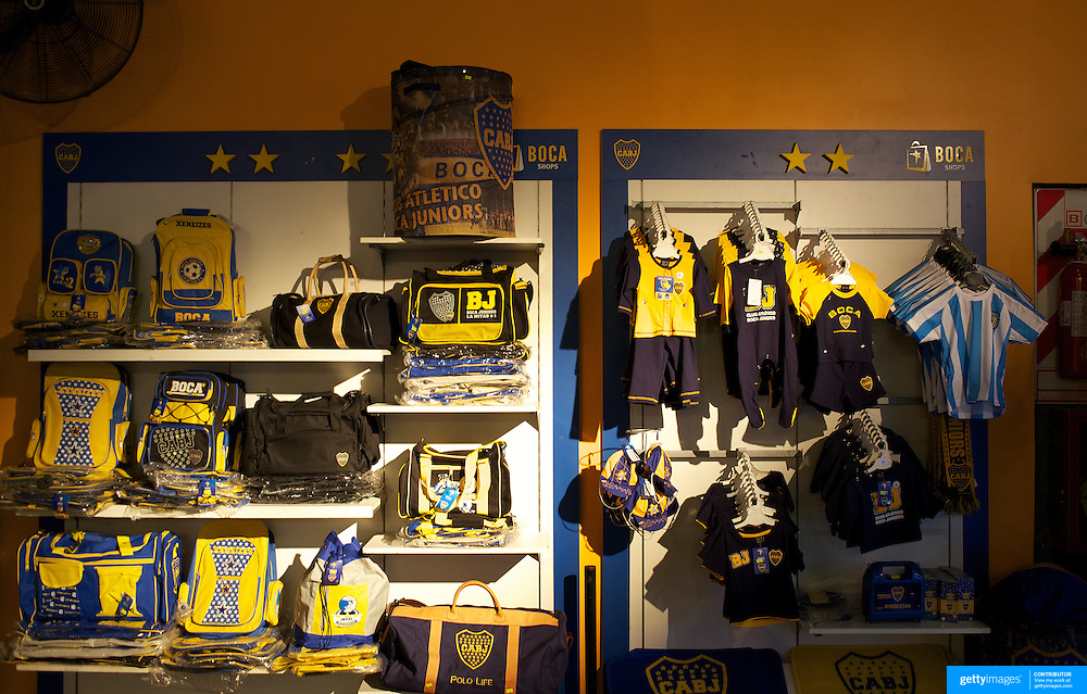 The mechandise on sale in the shop at Boca Juniors football stadium, La Bombonera, in La Boca region of Buenos Aires, Argentina, 25th June 2010. Photo Tim Clayton..
