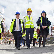 24.04.2017.       <br /> Minister for Housing Simon Coveney visiting the Lord Edward Street site in Limerick, where 81 units for social housing are nearing completion as part of the Limerick Regeneration programme.  57 of which are elderly units (1 and 2 bed apts and 2 bed houses) with the remainder (24) being family homes (3 bed)​. Picture: Alan Place.<br /> <br /> Pictured on site were, Senator Kieran O'Donnell, Minister for Housing Simon Coveney, and Senator Maria Byrne. Picture: Alan Place.