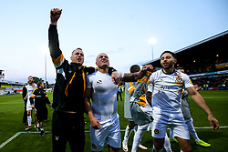 Newport County manager Michael Flynn, David Pipe and Robbie Willmott of Newport County celebrate after winning through to the Sky Bet League Two Playoff Final - Mandatory by-line: Robbie Stephenson/JMP - 12/05/2019 - FOOTBALL - One Call Stadium - Mansfield, England - Mansfield Town v Newport County - Sky Bet League Two Play-Off Semi-Final 2nd Leg