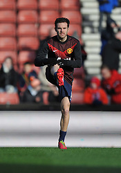 Manchester United's Juan Mata warms up prior to kick off with stoke. - Photo mandatory by-line: Alex James/JMP - Tel: Mobile: 07966 386802 01/02/2014 - SPORT - FOOTBALL - Britannia Stadium - Stoke-On-Trent - Stoke v Manchester United - Barclays Premier League