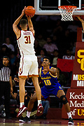 Southern California Trojans forward Nick Rakocevic (31) shoots the ball during the first half of an NCAA basketball game, Tuesday, Nov. 12, 2019, in Los Angeles. USC defeated South Dakota State 84-66. (Brandon Sloter/Image of Sport)