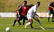 Andre Coker battling for posession during the Pre-Season Friendly match between Lewes FC and Crystal Palace at the Dripping Pan, Lewes, United Kingdom on 1 August 2015. Photo by Michael Hulf.