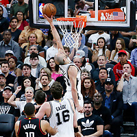 03 May 2017: San Antonio Spurs guard Manu Ginobili (20) puts back the ball during the San Antonio Spurs 121-96 victory over the Houston Rockets, in game 2 of the Western Conference Semi Finals, at the AT&T Center, San Antonio, Texas, USA.