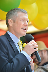 Scottish Lib Dem leader Willie Rennie speaks to marchers before the annual Pride Scotia march in Edinburgh.<br /> <br /> © Dave Johnston/ EEm