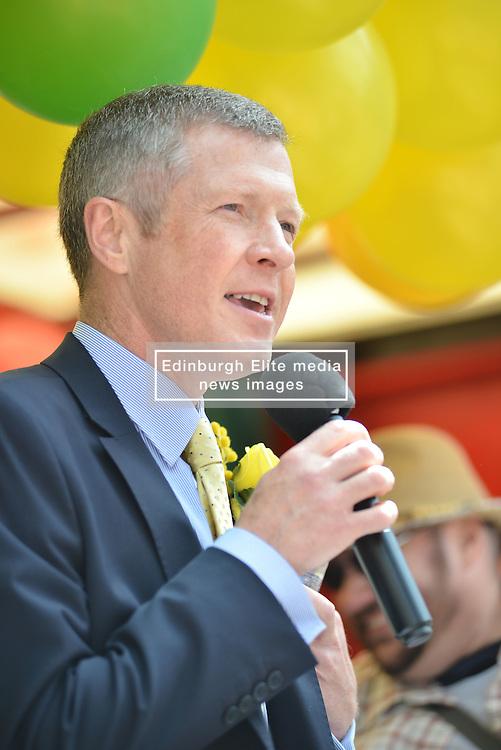 Scottish Lib Dem leader Willie Rennie speaks to marchers before the annual Pride Scotia march in Edinburgh.<br /> <br /> &copy; Dave Johnston/ EEm
