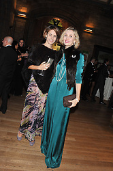 Left to right, DONELLA TARANTELLI and ALLEGRA HICKS at the annual Chain of Hope's annual Gala Ball held at the Natural History Museum, London on 8th November 2012.