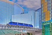 ARIA, Vdara, Hotels & Casinos, Veer Tower, Blue Elevated Train, Las Vegas; Nevada;  CityCenter,