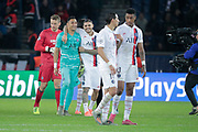 Keylor NAVAS (PSG) and Mauro ICARDI (PSG) celebration, the game winned, Simon Mignolet (FC Bruges), Angel Di Maria (PSG), Fresnel Kimpembe (PSG) during the UEFA Champions League, Group A football match between Paris Saint-Germain and Club Brugge on November 6, 2019 at Parc des Princes stadium in Paris, France - Photo Stephane Allaman / ProSportsImages / DPPI