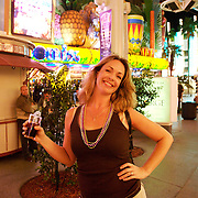 Tourists at the Fremont Street Experience.  Las Vegas, Nevada USA
