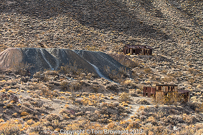 The corrugated metal buildings of Leadfield. Titus Canyon Road, Death Valley National Park.