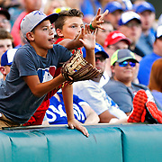 Two boys in the stands reach for a foul ball thrown to them during a baseball game between the Oklahoma City Dodgers and the New Orleans Zephyrs at Chickasaw Bricktown Ballpark in Oklahoma City, Saturday, July 23, 2016.